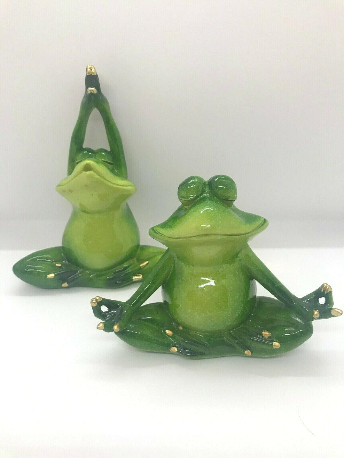 Set of 2 - Pond Life Yoga Frog Figurines - Green Polystone Lotus Poses