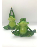 Set of 2 - Pond Life Yoga Frog Figurines - Green Polystone Lotus Poses  - $39.59