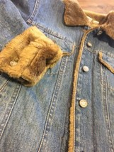 HURLEY Womens Jean Jacket Faux Mink Fur-Lined Sparkle Buttons Medium bx45 - $25.19