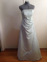 David Bridal Soft Mint Green Strapless Side Gathered Gown with Crinoline... - $48.24