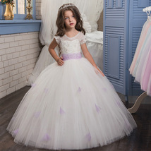 Cheap Sexy White Tulle Pricess Flower Girl Dress With Caped Sleeve  Prom... - £58.62 GBP