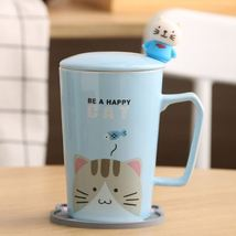 Be a Happy Cat Blue Mugs Milk Tea Cup Drinkware + Cover Lid + Spoon + Sa... - $34.95