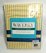 "Waverly European Sham 26/26"" Gold Stripe Blue Grosgrain Ribbon Gardenia Charmed  - $24.19"