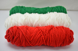 Red Heart Christmas Holiday Colors Acrylic Yarn  3 Skeins Solid Red Green White  - $14.20