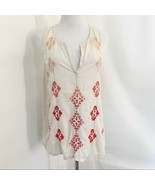 Lucky Brand Ivory Rust Multi Color V-Neck Tank Top Sz M - $25.00