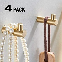 Pack of 4, Gold Brass Decorative Wall Hooks Towel Hook, Coat Hook Hangers Wall M