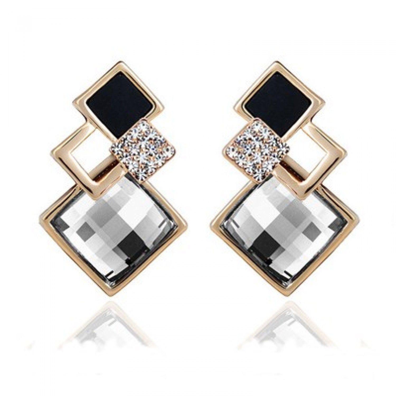 New Popular Crystal Earrings Fashion Geometric Rhinestone Gemstone Studs 2018 image 4