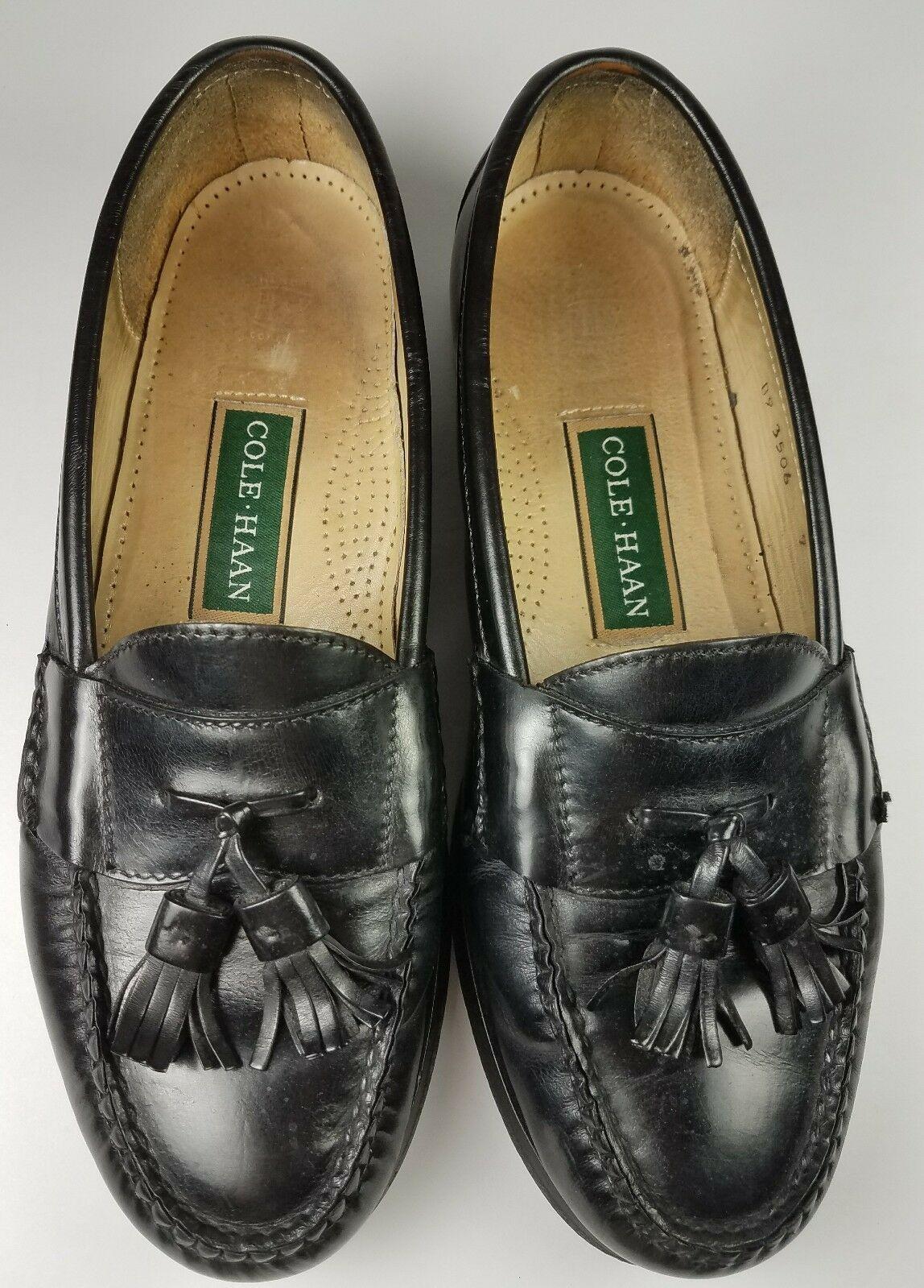 COLE HAAN Men's Loafers 9 D Leather Black Pinch Tassel Slip On Dress Shoes image 7
