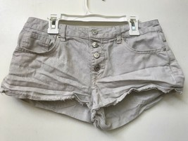 Forever 21 Los Angeles Off White Cut Off Jean Shorts Button Fly Womens S... - $9.95