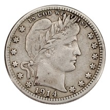 1914-S 25C Barber Quarter Fine+ Condition, All Natural Color, Full Bold Liberty image 2