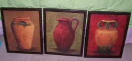 Home Interiors/Homco Set 3 Italian Tuscan Urn Vases Prints Framed - $59.39
