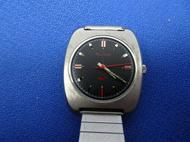 1969 BULOVA 11BLC BLACK DIAL RED SECOND HAND whale watch runs for restor... - $195.00