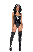 Roma Sexy Black Vinyl Misbeheaven Nun Bodysuit 2pc Costume 5028 - $67.99