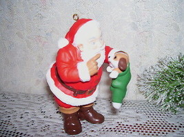 HALLMARK ORNAMENT SANTA CLAUS WITH PUPPY IN STOCKING 1998 - $17.75