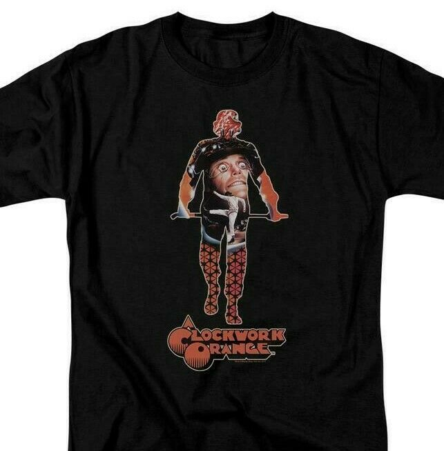 A Clockwork Orange Alex T-shirt retro 1970's cult movie poster Black WBM578