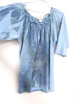 Dress Barn Blue LAser Print Top Tunic FLoral L Summer Cotton Blend - $28.35