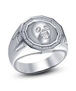 Mens Skull Diamond Engagement Ring 14k White Gold Over 925 Sterling Soli... - £71.18 GBP