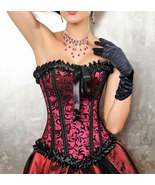 Black and Red Burlesque Brocade Satin Corset NE... - $33.99