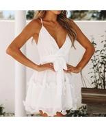 New white sexy V neck spaghetti strap mini ruffle women dress spring summer - $34.00