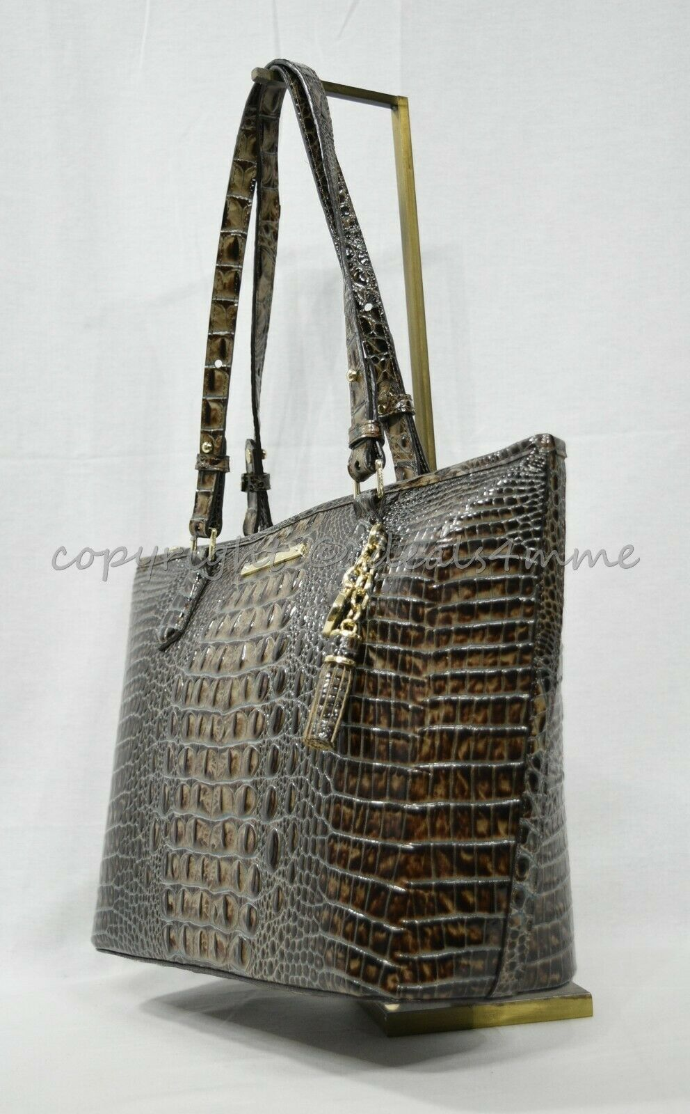 NWT Brahmin Medium Asher Embossed Leather Tote/Shoulder Bag in Chicory Melbourne