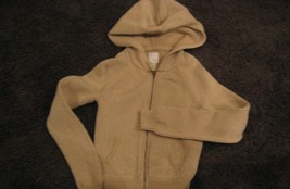 Old Navy Zippered Hooded Cardigan Sweater Khaki with Gold Flecks Girls S... - $5.00