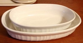 Corning Ware French White Oval Stoneware Casserole Dish With Lids Set Of 2 - $19.79