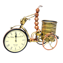 Clock with Ant on Bicycle Handmade iron made Hand Painted Silent watch Pen Stand - $118.99