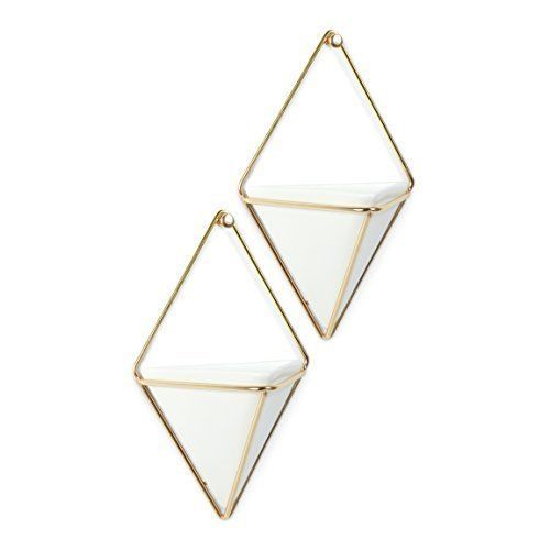 Modern Hanging Planter Vase Geometric Wall Decor Container Ceramic Set of 2