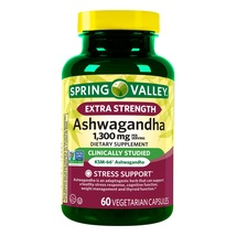 Spring Valley Ashwagandha Extra Strength  Vegetarian Capsules,1300 mg(2p... - $24.55