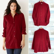 J Jill Seamed Corduroy Tunic Shirt Red Button Down Soft Womens Small Pet... - $34.64