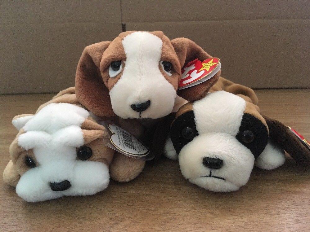 c29f77fa8a9 TY Beanie Babies Lot - 3 Dogs NWT Bernie