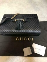 Auth Gucci Emily Shoulder Bag Black Medium Leather Chain Metal G192 - $1,115.73