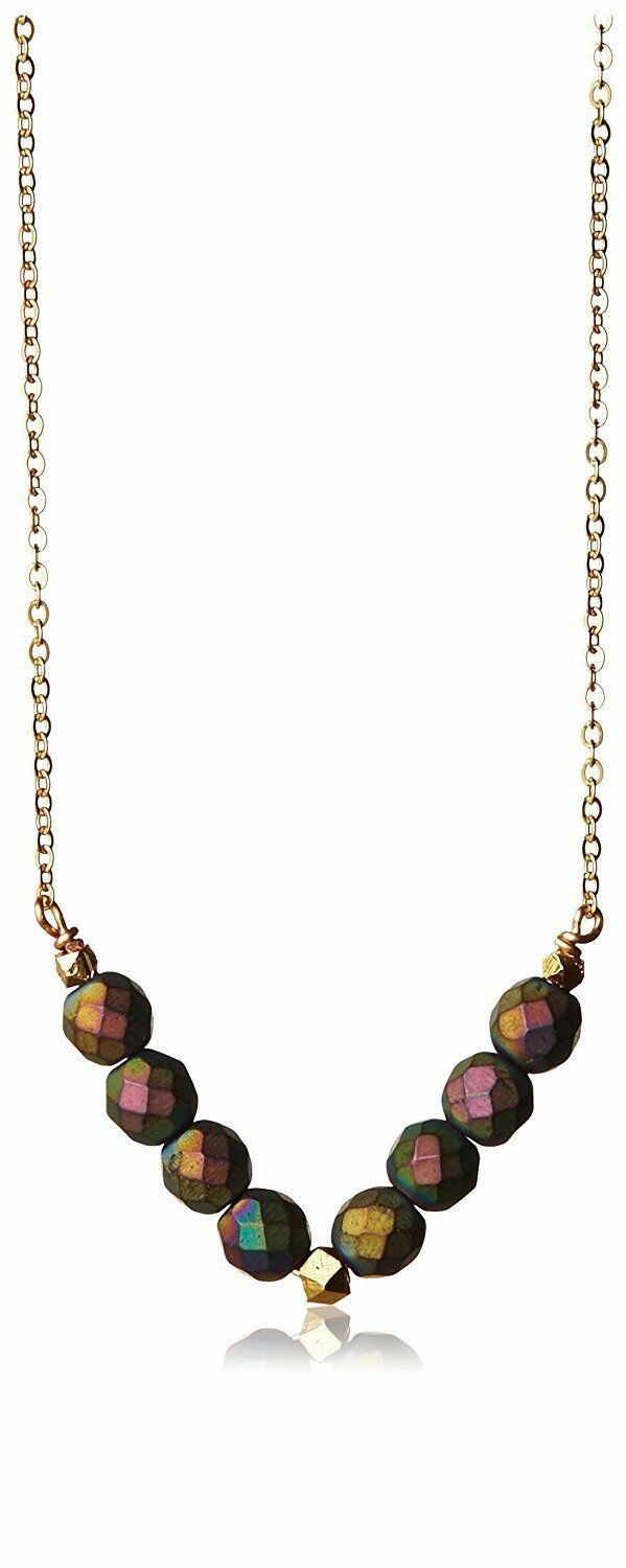 Gemelli Gold Plated Matte Rainbow Agate Austrian Crystal Tribal V-Necklace NWT