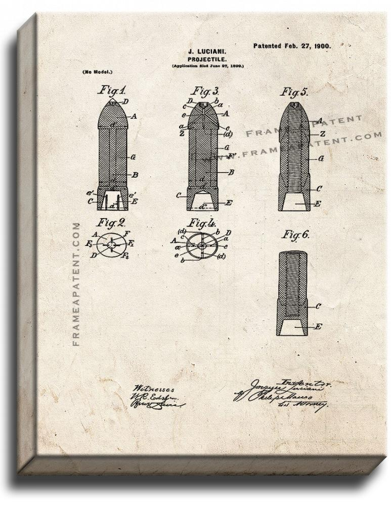 Primary image for Projectile Patent Print Old Look on Canvas