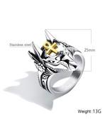 Retro Punk Anubis Beast Cross Stainless Steel Ring For Men Animal Finger... - $12.90