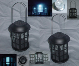 Two (2) iron & glass solar light yard garden carriage lanterns, outdoor ... - $39.00