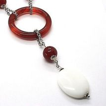 925 Silver Necklace, White Agate, Onyx, Carnelian, Pendant, Chain Rolo image 3