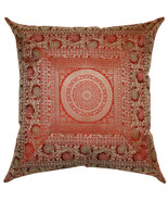 Mandala Rusty Red Cushion Cover Jacquard Silk Brocade Euro Sham Pillow 2... - $19.79