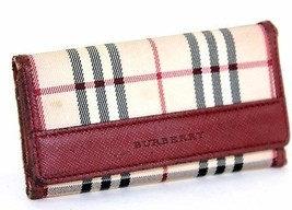 100% Authentic Burberry Nova Check Burgundy Multicles 5 Key Case 1 missing - $78.21