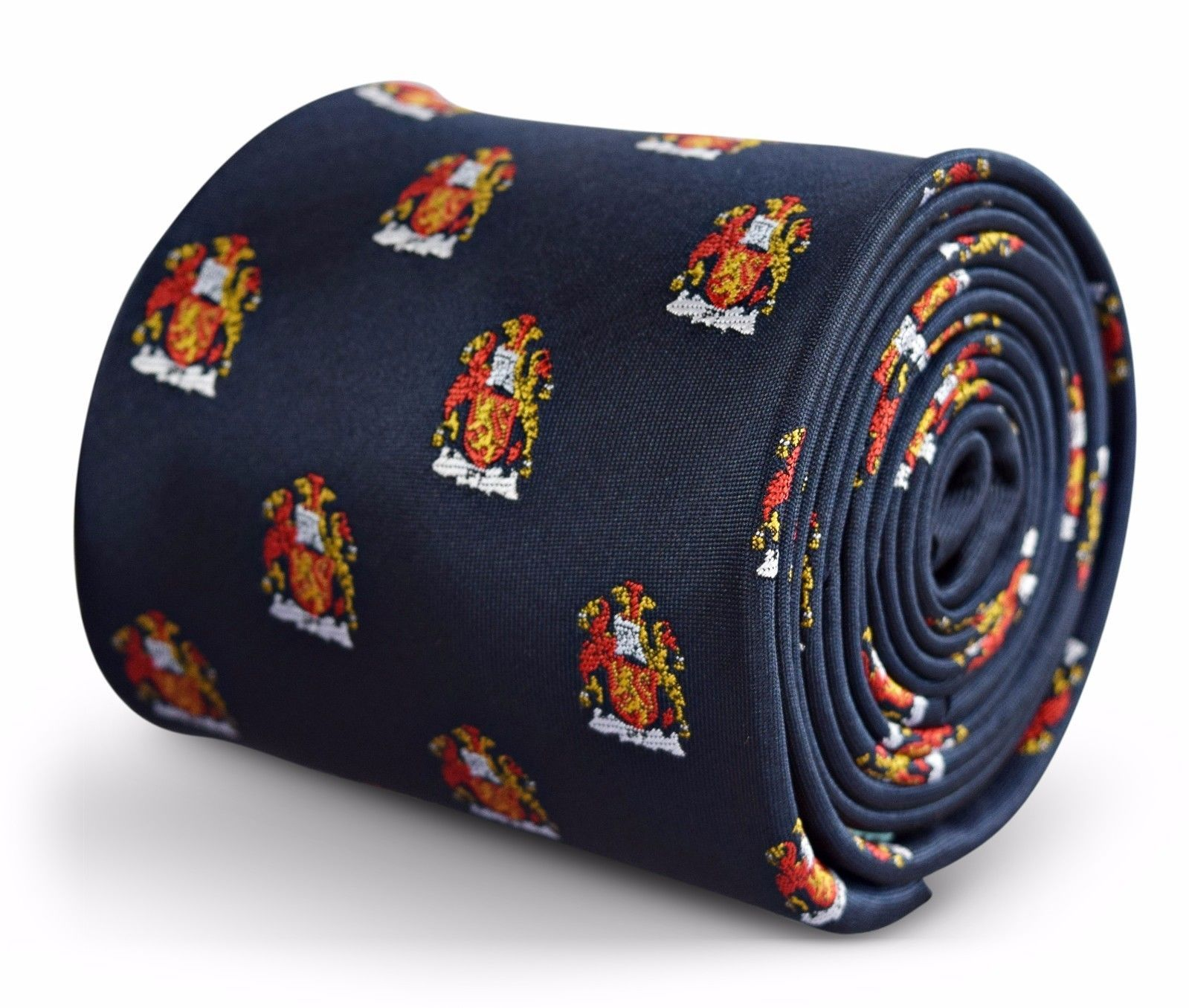 Navy Mens Tie with embroidered Coat of Arms Design by Frederick Thomas FT3265