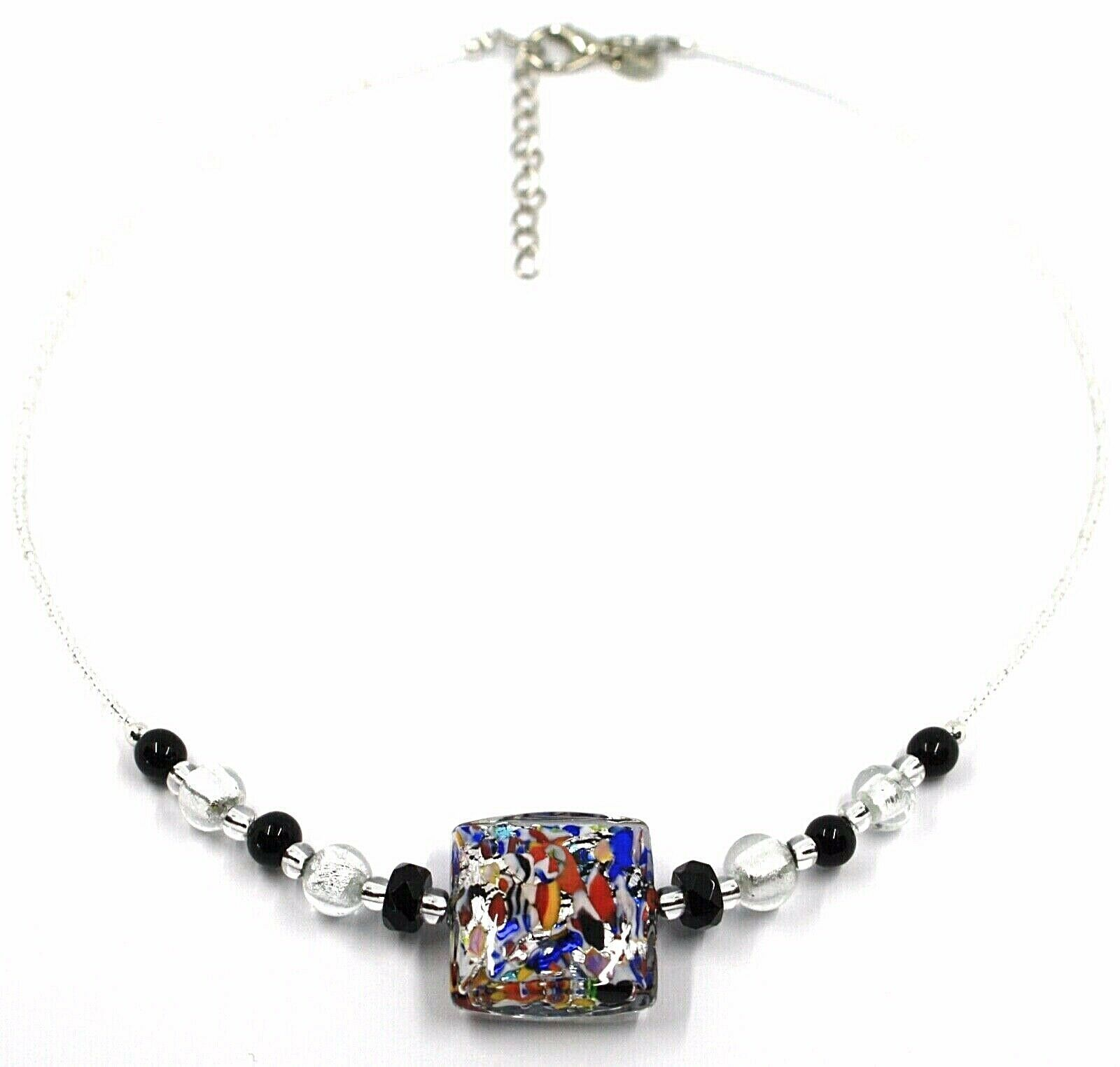 NECKLACE MACULATE MULTI COLOR MURANO GLASS BIG SQUARE, SILVER LEAF, ITALY MADE
