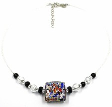 NECKLACE MACULATE MULTI COLOR MURANO GLASS BIG SQUARE, SILVER LEAF, ITALY MADE image 1