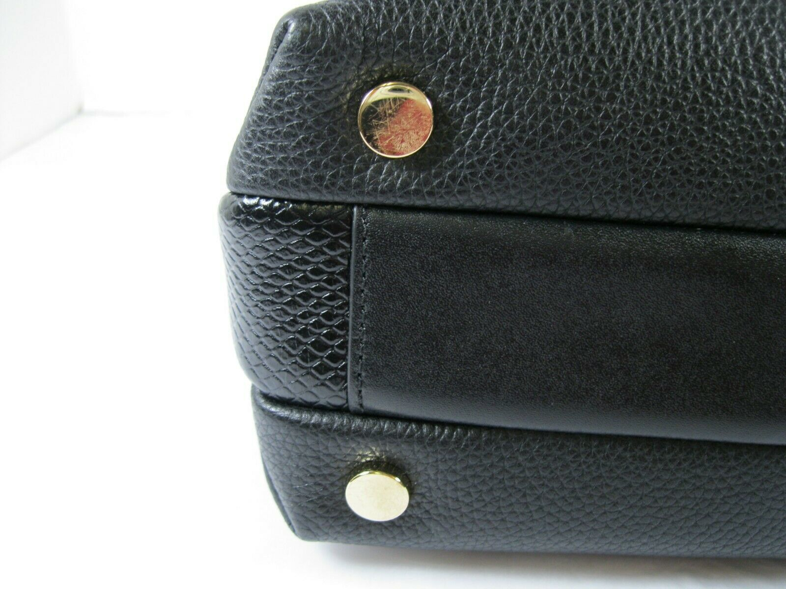Michael Kors NEW Black Leather Crossbody Messenger Hand Bag Pebbled Gold X image 7