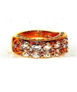 Pink Morganite Band Ring Yellow Gold Silver  2.56 carats Size 6  - $94.03