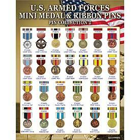 US  Armed Forces Mini Medal & Ribbon Pin Collection