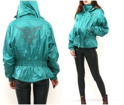 80s Satin Green Parka With Hood And Embroidered Eagle On Back / Waisted ... - $55.17