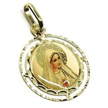 Pendentif Médaille, or Jaune 750 18K, Sacré Cœur Marie, Double Cadre, Émail image 2