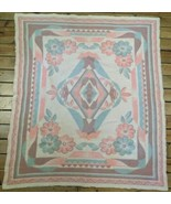 """Antique Orr? 1920s Wool Blanket 72x 62"""" Stitched Reversable Pink Flower ... - $148.49"""