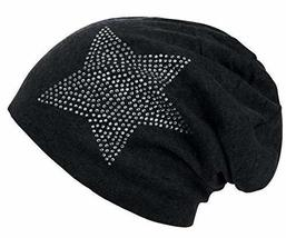 Unisex Men Women Classic Star Rhinestone Slouch Beanie Cap Cotton Hat Black - $7.55