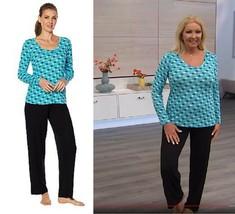 HUE 2pc Printed Pajama Set - Missy Peacock Blue Elephants Size 1X - $29.69